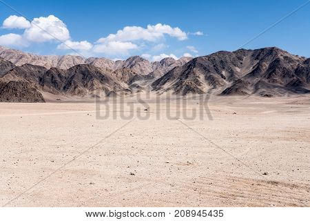 Landscape image of mountains and blue sky background in Ladakh India