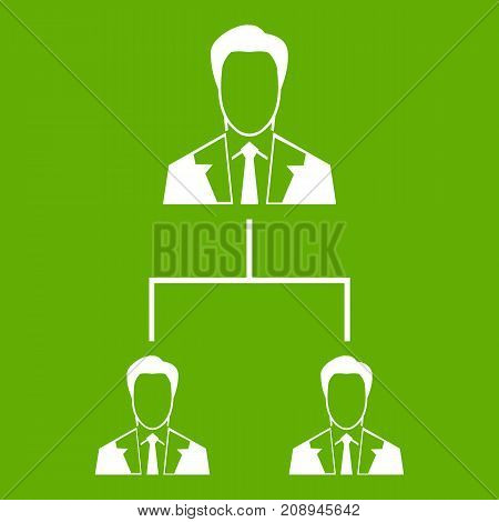 Company structure icon white isolated on green background. Vector illustration