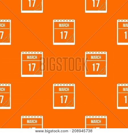 Calendar with the date of March 17 pattern repeat seamless in orange color for any design. Vector geometric illustration