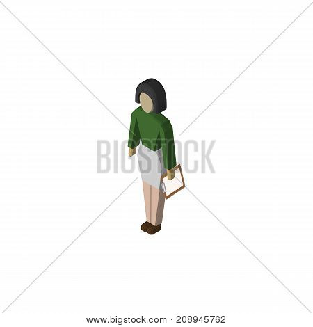 Pedagogue Vector Element Can Be Used For Pedagogue, Teacher, Educator Design Concept.  Isolated Teacher Isometric.
