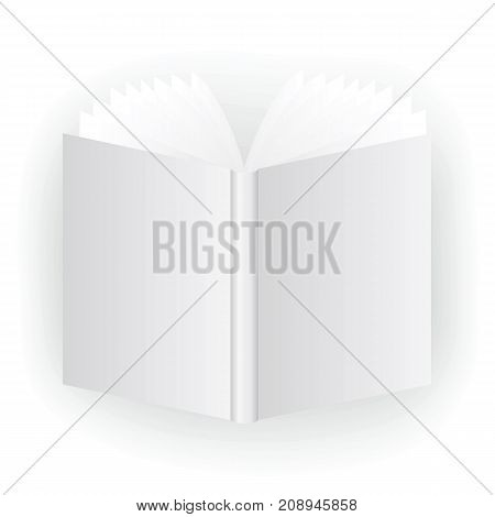 Grey open book isolated on white background