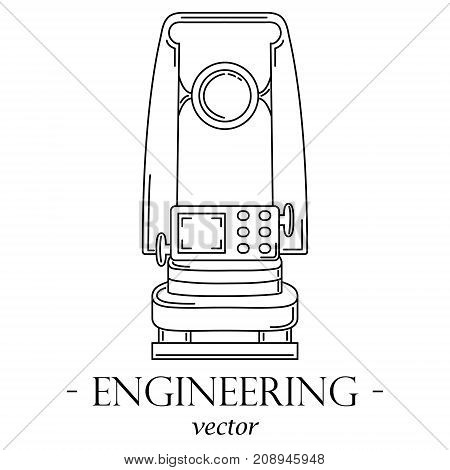 Engineering logo with a theodolite. Black lines on a white background.