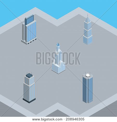 Isometric Construction Set Of Cityscape, Urban, Skyscraper And Other Vector Objects