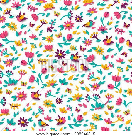 Seamless pattern with spring cute 3d paper cut design elements. Vector illustration. Floral natural shapes, flowers, berries and leaves. Pink tulips, sparrow bird and butterfly.
