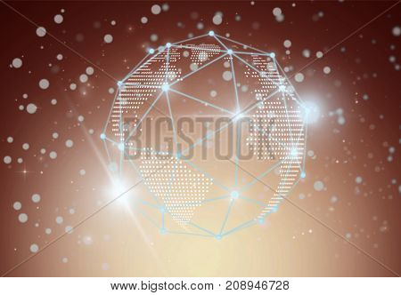 Futuristic technology mesh polygonal shape of circle global business with lines and dots over the Technology connection shape background business technology and network connections concept
