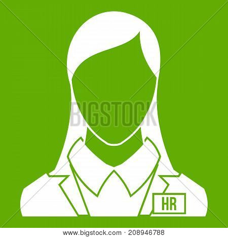 HR management icon white isolated on green background. Vector illustration