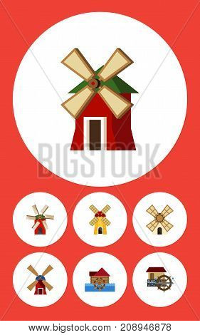 Flat Icon Mill Set Of Windmill, Wheel, Rural And Other Vector Objects