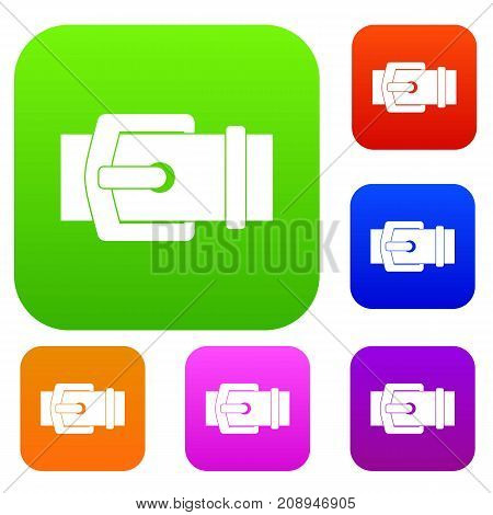 Elegant belt set icon color in flat style isolated on white. Collection sings vector illustration