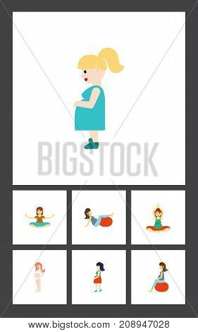 Flat Icon Pregnant Set Of Mother, Pregnant Woman, Fitness And Other Vector Objects