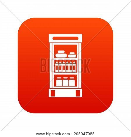 Products in the supermarket refrigerator icon digital red for any design isolated on white vector illustration