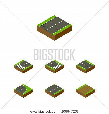 Isometric Way Set Of Cracks, Flat, Footpassenger And Other Vector Objects