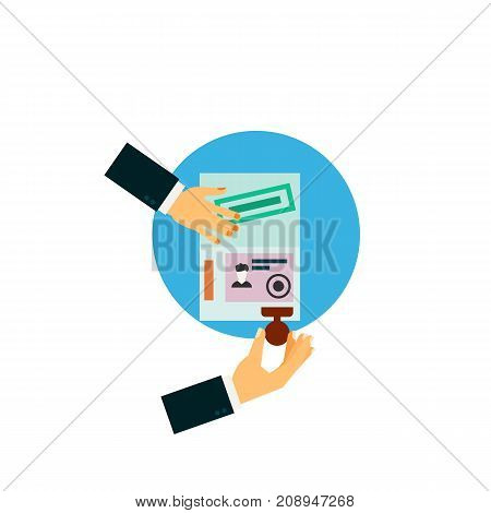 Vector icon of hands of consul sealing visa. External passport, curriculum vitae, traveling abroad. Tour planning concept. Can be used for topics like travel, business, tourism