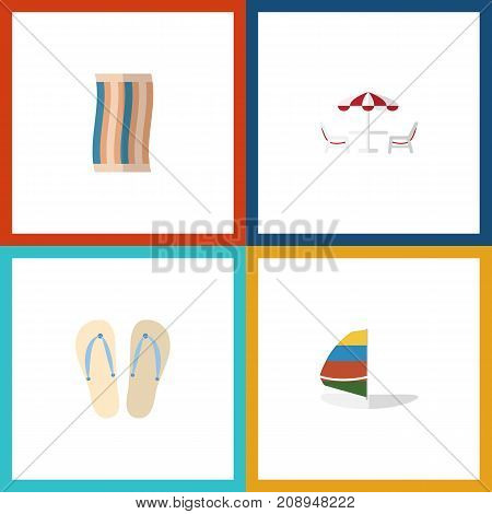 Flat Icon Season Set Of Wiper, Surfing, Beach Sandals Vector Objects