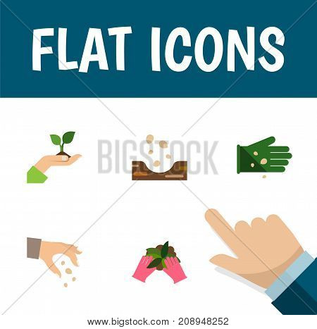 Flat Icon Seed Set Of Glove, Plant, Seed And Other Vector Objects