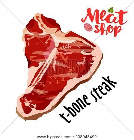 Raw fresh meat t-bone steak vector isolated on white. Fresh meat icon.