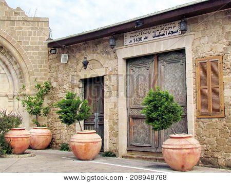 Jaffa, Israel - December 6, 2012: Entrance of Al-siksik mosque in old city.