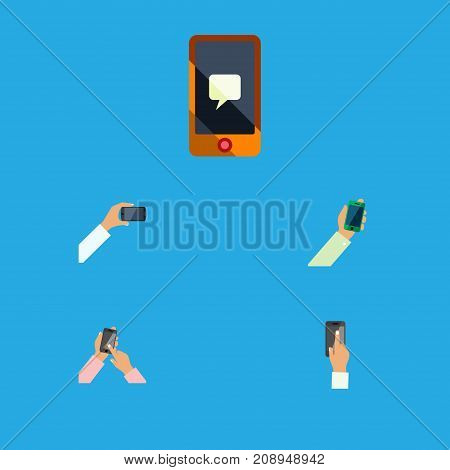 Flat Icon Touchscreen Set Of Touchscreen, Interactive Display, Smartphone And Other Vector Objects