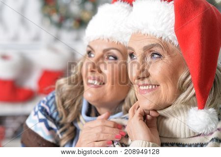 Portrait of two mature women in Santa hats celebrating Christmas