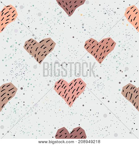 Cute Seamless Pattern with hand drawn pink hearts and scattered dots.