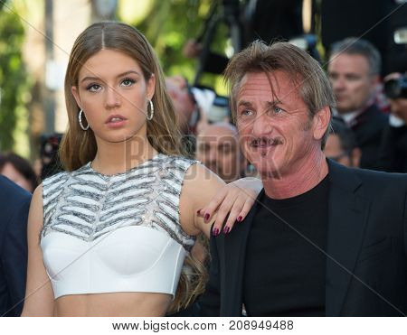 CANNES, FRANCE - MAY 20: Adele Exarchopoulos, Sean Penn, Hopper Penn attend the 'The Last Face' premiere. 69th annual Cannes Film Festival at the Palais des Festivals on May 20, 2016 in Cannes
