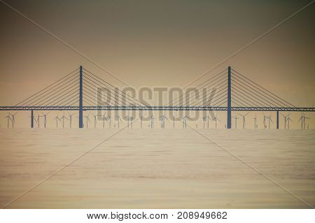 Oresundsbron. The Oresund bridge link between Denmark and Sweden Europe Baltic Sea. View from sailboat. Overcast sky. Landmark and travel.