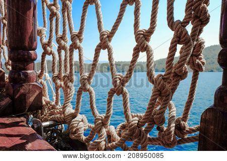 Beautiful view of net on ship