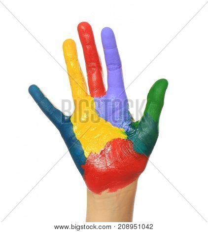 Painted hand on white background