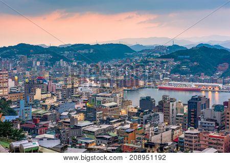 Keelung, Taiwan skyline at twilight.