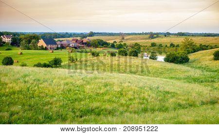 Residential neighborhood in Kentucky's Bluegrass region in summer
