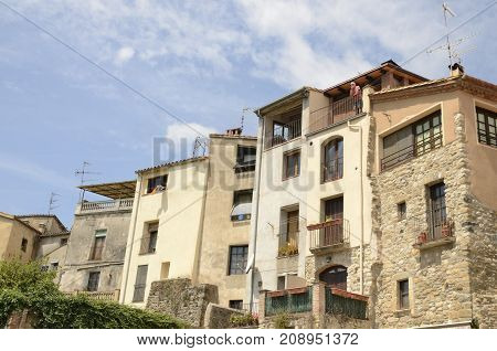 BESALU, SPAIN - JULY 26, 2017: Typical buildings of Besalu a medieval town of Girona Catalonia Spain.