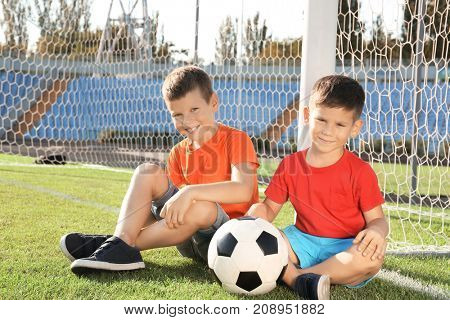 Cute children with soccer ball on field