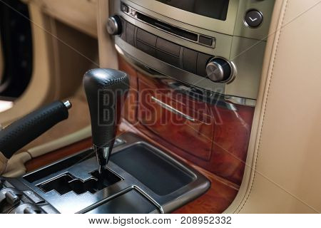 Gear shift knob in modern car