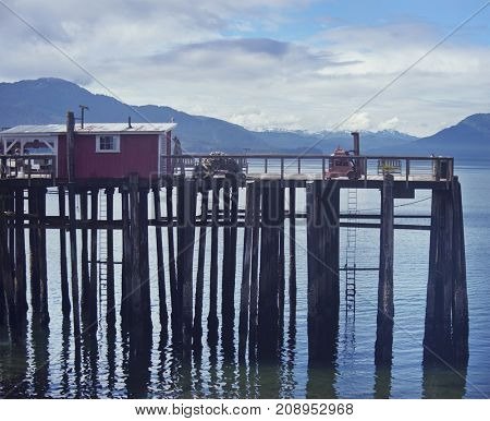 Wooden Platform near the Crab Station Restaurant,Icy Strait Point, Hoonah, Alaska, USA
