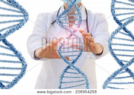 Doctor Conducts A Test Of Human Dna .