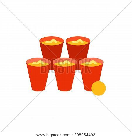 Vector icon of glasses with beer and ball. Beer pong, beer party, leisure game. Table games concept. Can be used for topics like leisure, alcoholism, bad habits