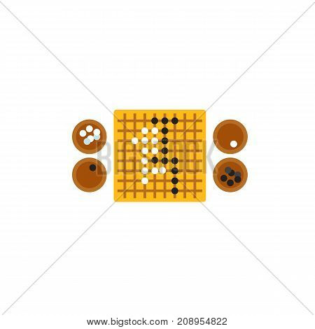 Vector icon of go game board with stones. Break, leisure game, competition. Table games concept. Can be used for topics like hobby, leisure, intellectual games