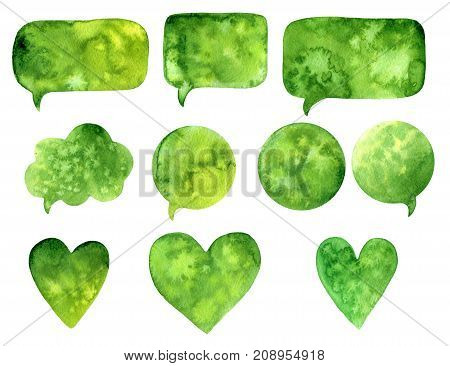 Hand Drawn Green Watercolor Abstract Paint Texture. Raster Speach Bubble Heart, Splash Background.