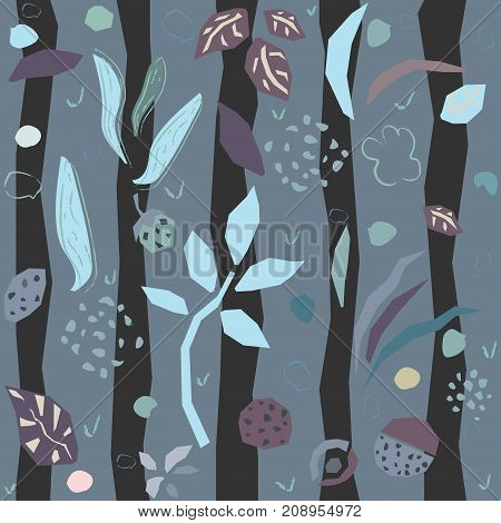 Cute Seamless Pattern with hand drawn plants and dark stripes. Modern Design. Vector Illustration