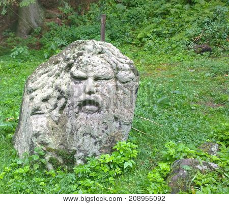 man head made of stone South Bohemia Czech Republic