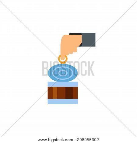 Vector icon of hand opening can. Tinned fish, tinned meat, garbage. Canned food concept. Can be used for topics like food, ecology, provisions