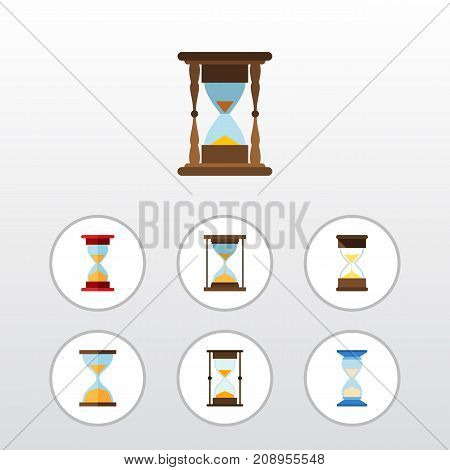 Flat Icon Hourglass Set Of Loading, Sand Timer, Minute Measuring Vector Objects