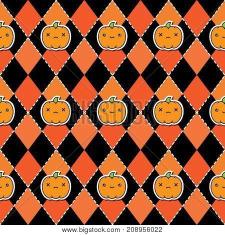 Seamless halloween pattern background with pumpkins on argyle black and orange background. Vector illustration.