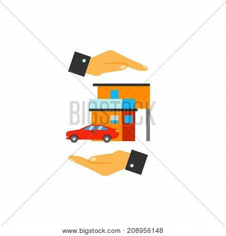 Vector icon of hands protecting house and car. Home insurance, safety, home security system. Protection concept. Can be used for topics like insurance, service, business