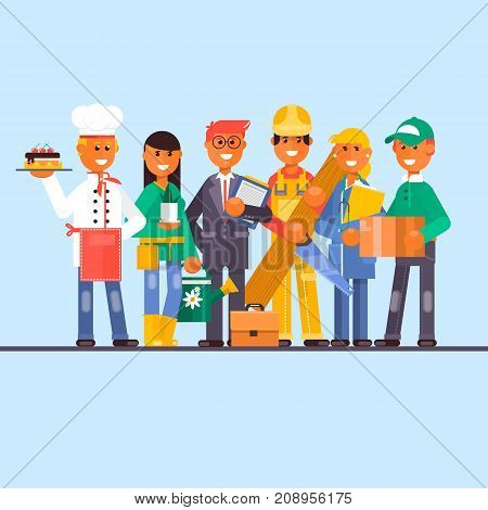 Vector set of professional worker cartoon characters. Confectioner, gardener, doctor, construction and postal workers males and females flat style design symbols, icons.