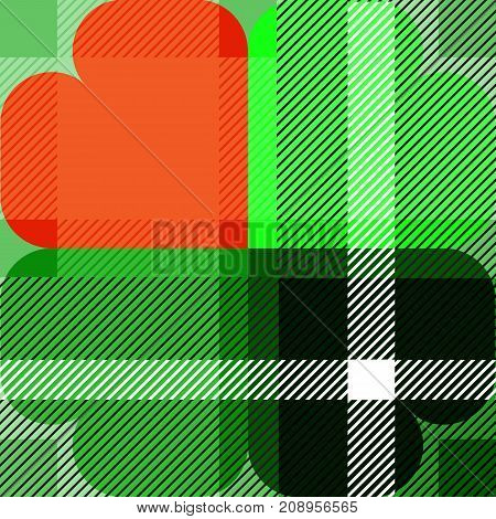Vector designed shamrock scott pattern for st. patrick day. Green and Orange is the irish color theme.