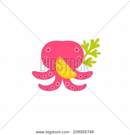 Vector icon of cooked octopus with lemon and dill. Delicatessen, cooking, restaurant. Seafood concept. Can be used for topics like food, gourmet, fishery