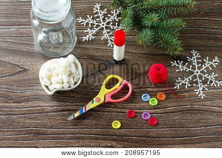 Details Of The Christmas Gift Snowman Sweets - Marshmallow, Jar, Thread, Scissors, Glue, Buttons On