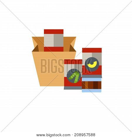 Vector icon of paper bag with canned peas and fruit. Supermarket, products, preserves. Canned food concept. Can be used for topics like food, shopping, provision