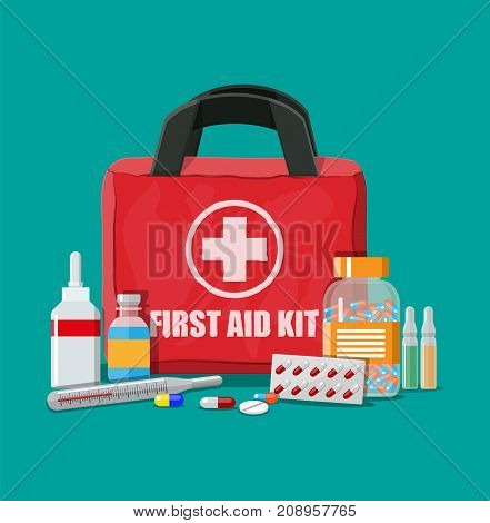Medical first aid kit with different pills and thermometer. Healthcare, hospital and medical diagnostics. Urgency and emergency services. Vector illustration in flat style