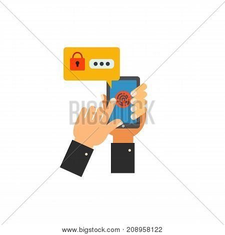 Vector icon of hand unlocking smartphone with fingerprint. Password notification, security system, identification. Protection concept. Can be used for topics like technology, security, mobile phones